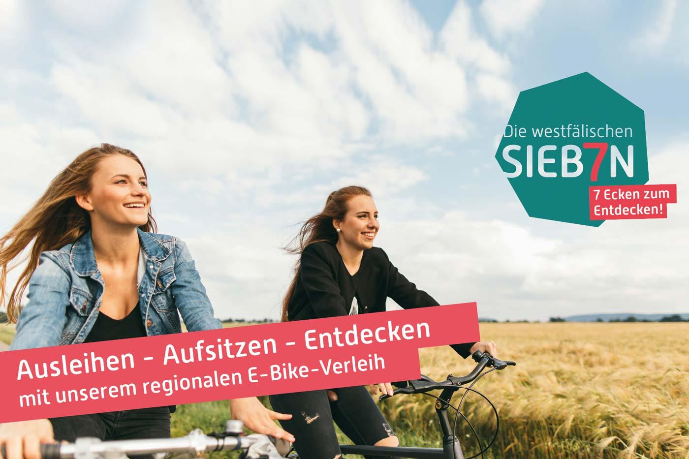 E-Bike Fahrerinnen mit Leihfahrrädern